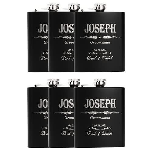 Set of 6 - Groomsmen Gift - Groomsman Gifts For Wedding, Wedding Favor Customized Flask Set - Engraved 7oz Stainless Steel Flask Custom Personalized Flask Gift Set (6)