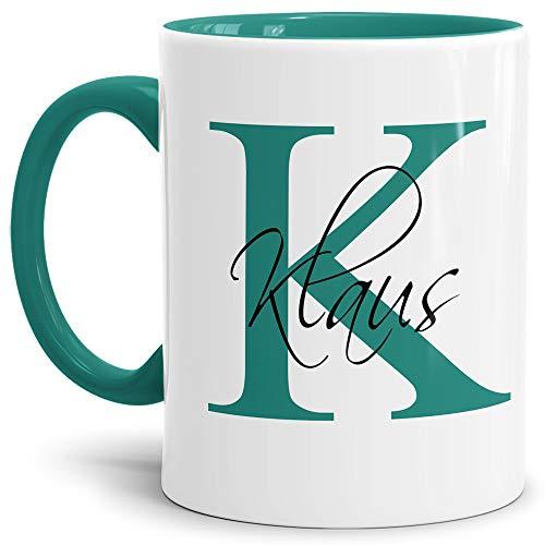 Tassendruck Edle personalisierte Namens-Tassen mit Ihrem Anfangsbuchstaben und Namen - Namenstasse/Geschenk-Idee/Geburtstags-Geschenk/Namenstag- Innen & Henkel Türkis
