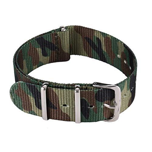 HermosaUKnight Banda de Reloj de Moda Banda de Reloj de Correa de Nylon Impermeable (Camuflaje green20mm)