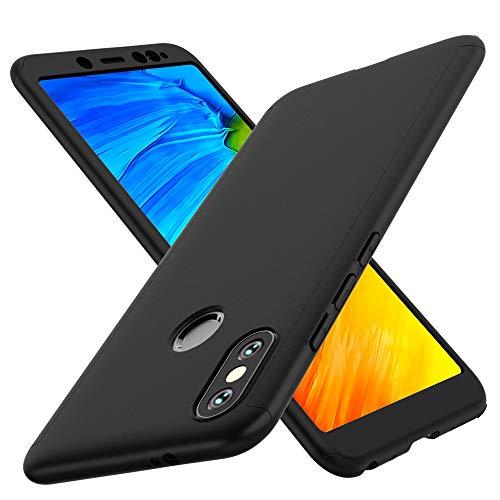 ORETECH Funda Xiaomi Redmi Note 5, Carcasa Redmi Note 5 Case Cover 360 Grados con [2 x Cristal Protector de Pantalla de Vidrio Templado] Ultra Delgado Funda para Xiaomi Redmi Note 5 - Negro