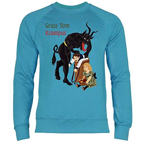 wowshirt Herren Sweatshirt Gruss Vom Krampus Weihnachten Ugly Christmas, Größe:S, Farbe:Azure Blue