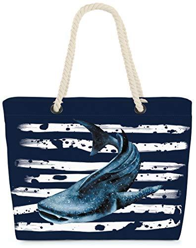 VOID XXL Strandtasche Walhai Shopper Tasche 58x38x16cm 23L Beach Bag Wal, Kissen Farbe:Marineblau