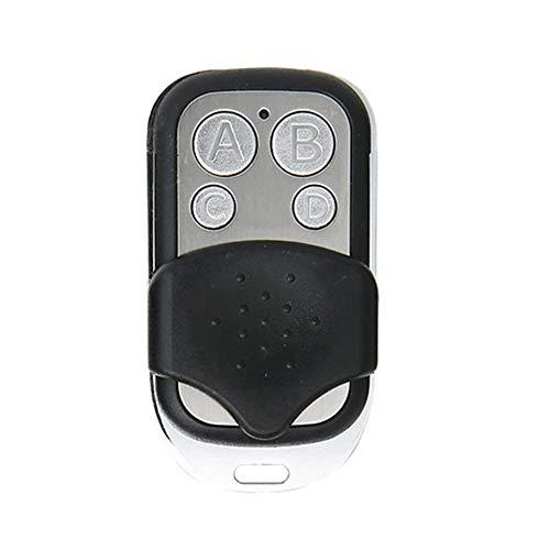 Control remoto inalámbrico RF de 4 canales ABCD 433 MHz Portón eléctrico universal Puerta de garaje Mando a distancia Controlador de llavero - código de aprendizaje negro y plateado