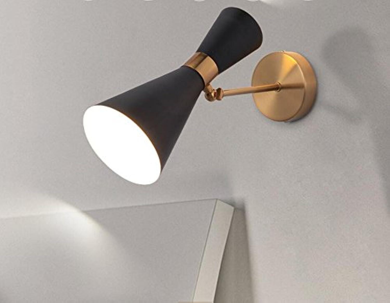 StiefelU LED Wandleuchte nach oben und unten Wandleuchten E27 Wandleuchte über Bett im Wohnzimmer, Schlafzimmer, Badezimmer spiegel-LED, Standlicht vorne, Schwarz