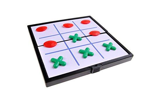 Quantum Abacus Magnetisches Brettspiel (Super Mini Reise-Edition): Tic Tac Toe - magnetische Spielsteine, Spielbrett zusammenklappbar, 12,8cm x 12,8cm x 1cm, Mod. SC3660 (DE)