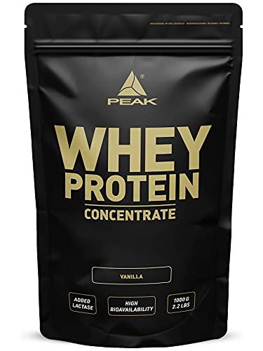 PEAK Whey Protein Concentrate Vanilla 1000g (Optimierte Rezeptur) | reich an essentiellen Aminosäuren (EAAs)