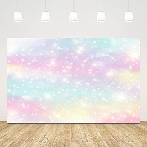 5x3ft Rainbow Glitter Backdrop for Photography Unicorn 1st Birthday Banner Candy and Marble Colorful Photo Background Baby Shower Newborn Photo Booth Props Galaxy Fantasy Backdrop Cake Table Decoratio