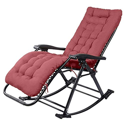 Convenient Sun Lounger Garden Rocking Chair Zero Gravity, Patio Lounger Camping Outdoor Office Portable Lounge Chair, with Cotton Pad Supports 200kg