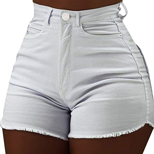 MOTOCOFrauen Casual Solid Color Shorts Hohe Taille Schlanke Tasche Hot Pants Raw Jeans Größen 36-42(L(40),Weiß)
