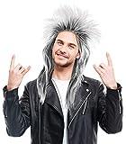 Peluca tupida de rockero Negra / Blanca para Mujeres y Hombres – Indicada para el Carnaval – 80s Wave Punk Popstar - Peluca Rock Negra-Blanca-Gris
