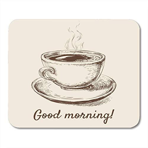 Mauspad kaffee skizze kaffeetasse morning time cafe schwarzes frühstück mousepad für notebooks, Desktop-computer mausmatten, Büromaterial