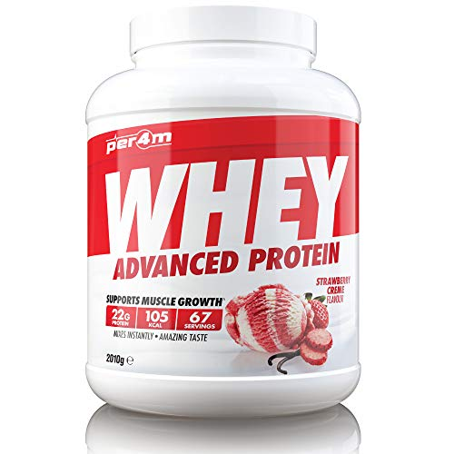 PER4M Protein Whey Powder | 67 Servings of High Protein Shake with Amino Acids | for Optimal Nutrition When Training | Low Sugar Gym Supplements (Strawberry, 2010g)