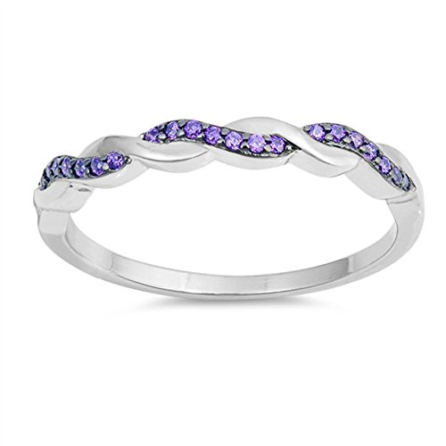 Simulated Amethyst Criss Cross Knot Promise Ring .925 Sterling Silver Band Size 8
