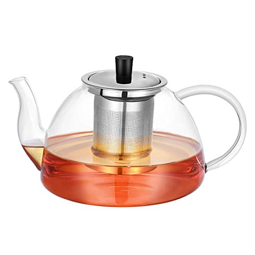 Large Capacity 1200ml Glass Teapot with Removable 304 Stainless Steel Infuser, Stovetop Safe Thick Wall Tea Pot for Blooming,?Loose Leaf Tea