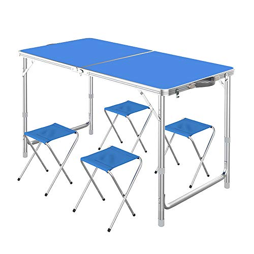 VAlinks Folding Table, Portable Aluminum Folding Table with 3 Adjustable Height 4ft, Lightweight Camping Dining Picnic Hiking Beach Party BBQ Desk with 4 Folding Chair