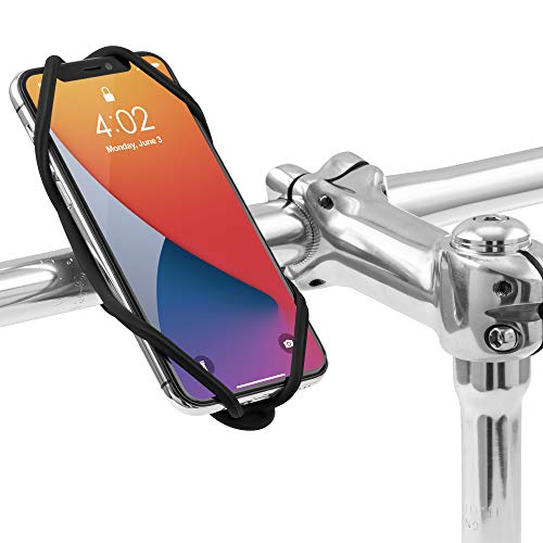 Bone Bike Tie 4 Bike Phone Mount for Handlebar Mounting, Universal Cell Phone Holder for 4.7' - 7.2', Face ID Compatible, Ultra Light Silicone Bike Phone Mount for Road Touring - Black