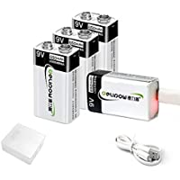 4-Pack Delipow 9V Lithium ion USB Rechargeable Battery with Micro USB Cable