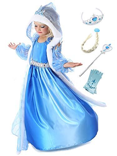 Monissy ELSA Kostüm für Kinder Mädchen Prinzessin Kostüm Eiskönigin Eisprinzessin Kleid Karneval Verkleidung Cosplay Party Geburtstag 3 Teil Umhang Arm Ärmel Schneeflocken Blau Lang