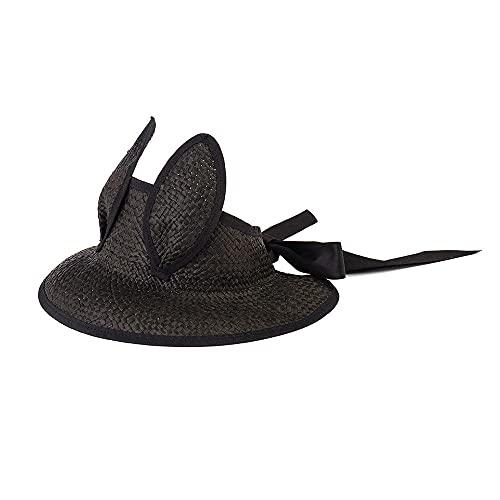 YFZCLYZAXET Chapeau Paille Femme Lapin Oreilles Plage Chapeau Noir Vide Top Soleil Casquettes Filles Garçons Parasol Raphia Chapeaux De Fête-Noir