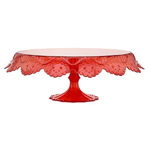 Soporte para tartas Rojo, Transparente aprox. 28cm, plato para tartas, plato para tartas, plástico