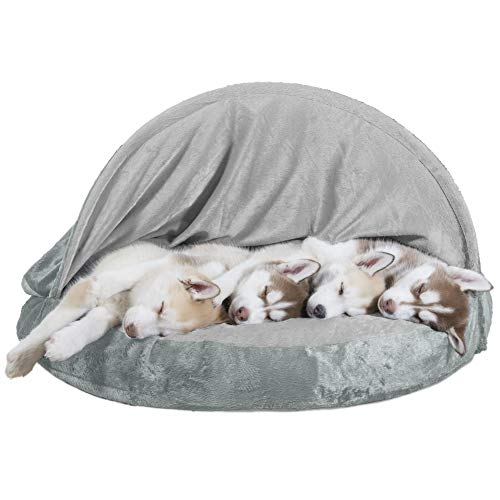 Furhaven Pet Dog Bed - Orthopedic Round Cuddle Nest Micro...