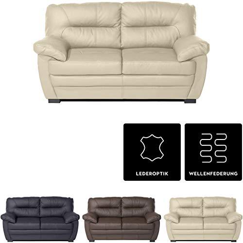 Mivano 2er-Sofa Royale / Zeitloses, bequemes Ledersofa mit hoher Rückenlehne / 160 x 86 x 90 / Lederimitat, Beige