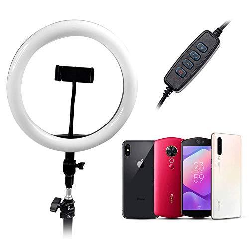 Lupovin Ajuste libre Anillo de luz de 10 pulgadas con el clip ajustable teléfono móvil belleza luz de fondeo del disparador automático de la manguera, anillo de luz LED con trípode y soporte de teléfo