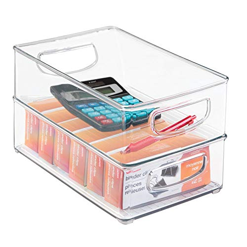 """mDesign Stackable Plastic Home Office Storage Organizer Container with Handles for Cabinets, Drawers, Desks, Workspace - BPA Free - for Pens, Pencils, Highlighters, Notebooks - 6"""" Wide, 2 Pack - Clear"""