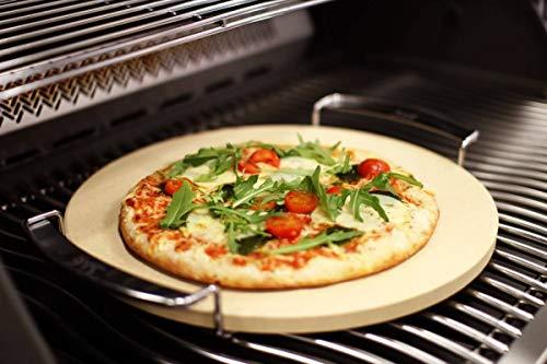 CAGO SE Premium Pizzastein 33 cm rund mit Gestell - Steinofen Pizza Flammkuchen
