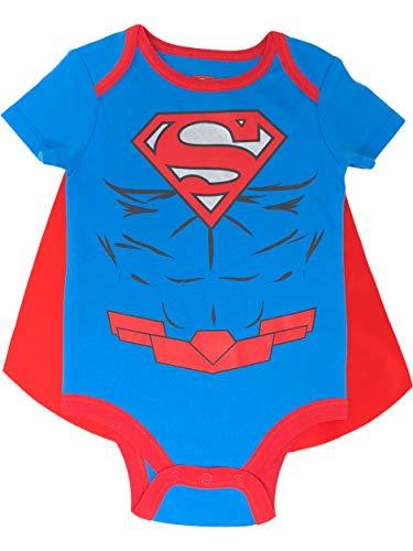 DC Comics Superman Baby Jungen Body mit Cape Set und Muskeln, Blau 12 Monate