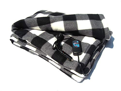 Car Cozy 2 Heated Travel Blanket with Patented Safety Timer 58 inch x 42 inch (Black and White Plaid)