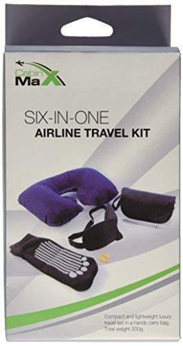 Cabin Max - Kit da viaggio, guanciale di supporto per il collo, mascherina da viaggio, tappi per le orecchie, calzini con antiscivolo e penna