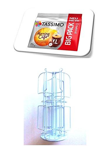 Tassimo Tassimo Morning Café XL, 21 Kaffee Kapseln im Big Pack, 163.8 g plus Kapselspender, Kapselhalter, Kapselständer in hellblau für 48 Tassimo Kapseln drehbar und damit noch mehr Sorten auf kleinster Fläche griffbereit von James Premium