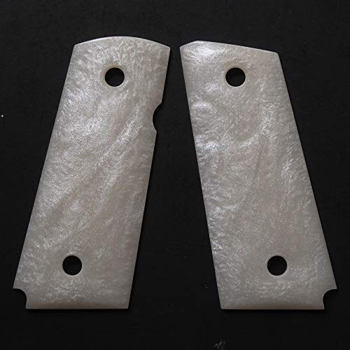 DURAGRIPS - para Ordnance 1911 Grips Carry 9 C6 LDA PDA Slim Hawg 45 -Smooth (Faux White Pearl, Single Safety)
