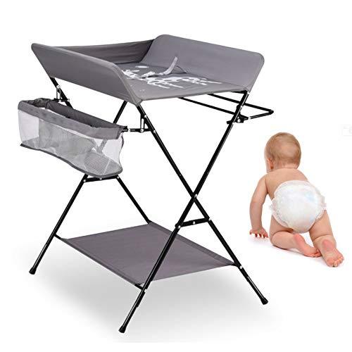 Cambiador de 25 kg, plegable, para habitación de bebé, 3 compartimentos, color gris