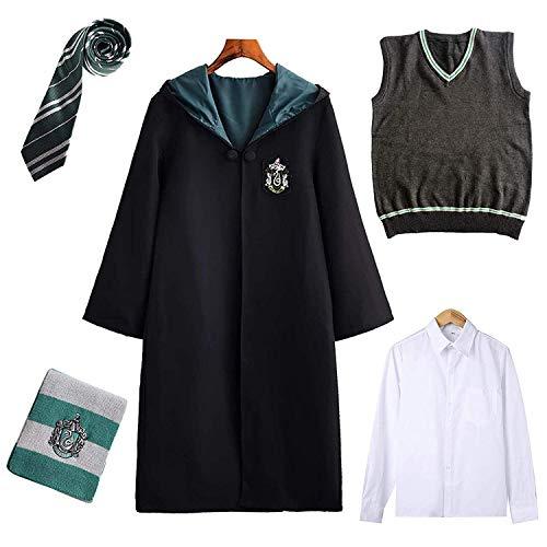 Harry Potter Kostüm Kinder Erwachsene Umhang Unisex Gryffindor Hufflepuff Ravenclaw Slytherin Cosplay Outfit Set Cape,Krawatte,Hemd,Weste,Schal Fasching,Männlich-grün,L
