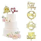 Toeah 6 Pcs Acrylic Golden Cake Topper...