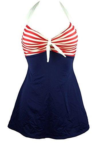 COCOSHIP Navy Blue & Red White Striped Vintage Sailor Pin Up Swimsuit One Piece Skirtini Cover Up Swimdress M(US8)
