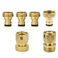 PLG ¾ Inch GHT Solid Brass Garden Hose Quick Connect Fittings,6 pcs Quick Change Set