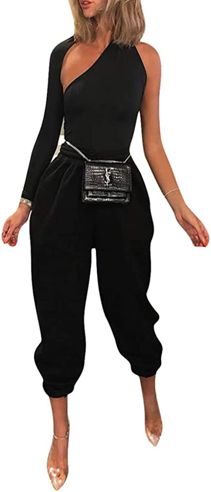Sexy 2 Piece Outfits for Women - One Shoulder Bodycon Top + Elastic Waist Long Pants Jumpsuits Clubwear
