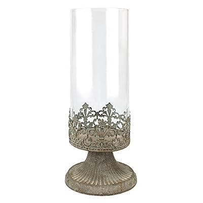 Stonebriar Fleur de Lis Hurricane Candle Holder, Large, White from CKK Home Dcor