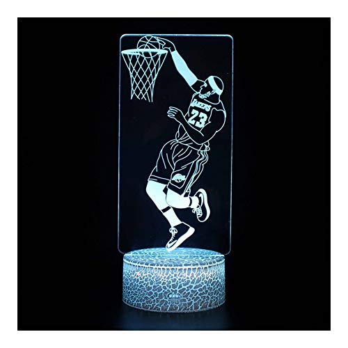 Lowest Price! TXOZ 3D Led Basketball Illusion Lamp Night Light,7 Colors Changing ,for Kids Remot...