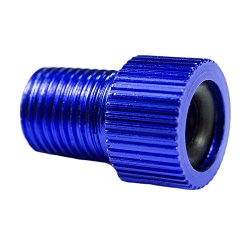 Charmate® 1 x adaptateur de valve de vélo couleur en aluminium bleu – DV SV Dunlop / valve française sur valve de voiture AV – avec bague d'étanchéité