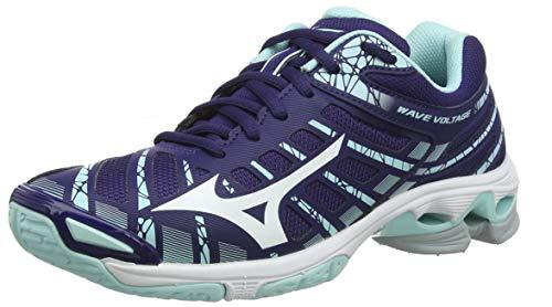 Mizuno Wave Voltage, Zapatillas de Voleibol Mujer, Púrpura Astral Aura Blanco Azul Ligero 15, 36.5 EU