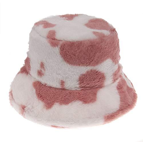 Invierno al Aire Libre Vacaciones señora Negro sólido Espesado Suave cálido Gorra de Pesca Sombrero de Cubo para Mujer-Red