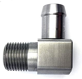 JSD 1037 Stainless Steel 90 Degree Heater Hose Fitting 1/2
