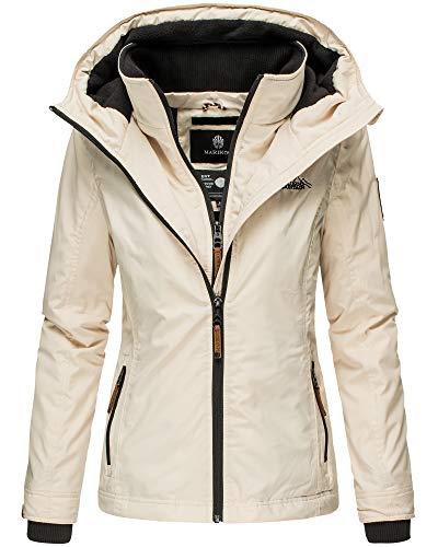 Marikoo Damen Regen Jacke Outdoor Regenjacke Winterjacke Fleece Gefüttert Kapuze XS - XXL Erdbeere (L, Beige)