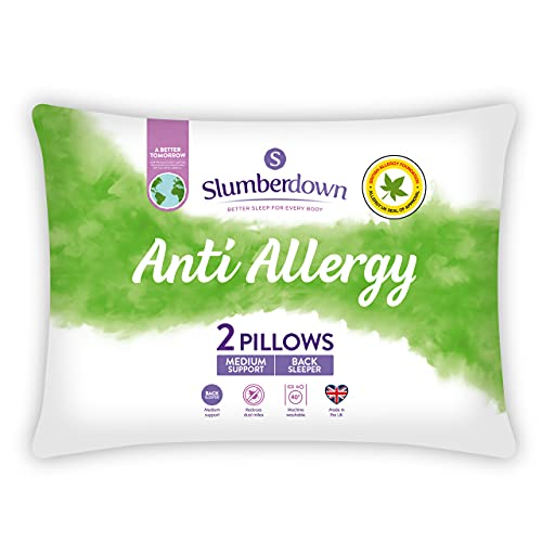 Slumberdown Anti Allergy White Pillows 2 Pack Medium Support Bed Pillows Designed for Back and Side...
