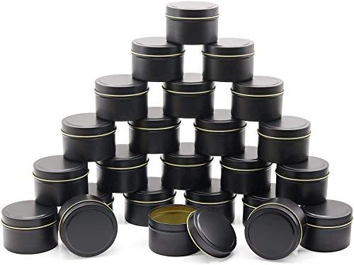 NRANSON Lata para Velas de 24 Piezas, 5 oz, recipientes para Velas, tarros para Velas para Hacer Velas, Disponible en Plata, Negro y Dorado (Black)