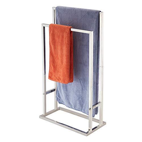 Freestanding Towel Rack,Naturous 2 Tier Metal Towel Bar Stand Stainless Steel Bathroom Towel/Kitchen Towel Rack Stand